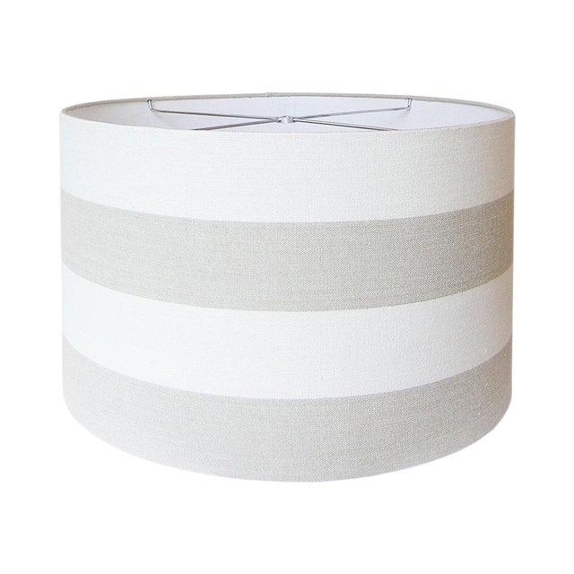 Covington Riley Beige Wide Stripe Fabric Drum Lamp Shade For Sale