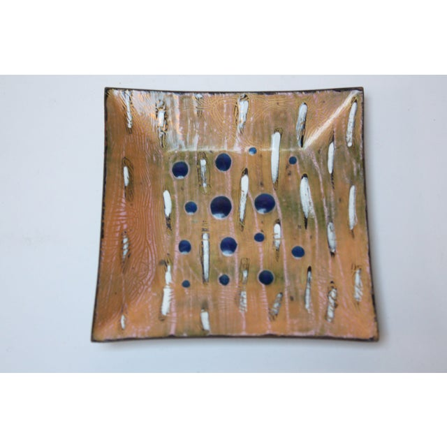 White Eve Rabinowe Enamel on Copper Square Dish For Sale - Image 8 of 8