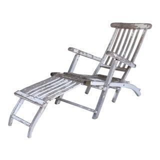 Antique Wooden Deck Chair For Sale