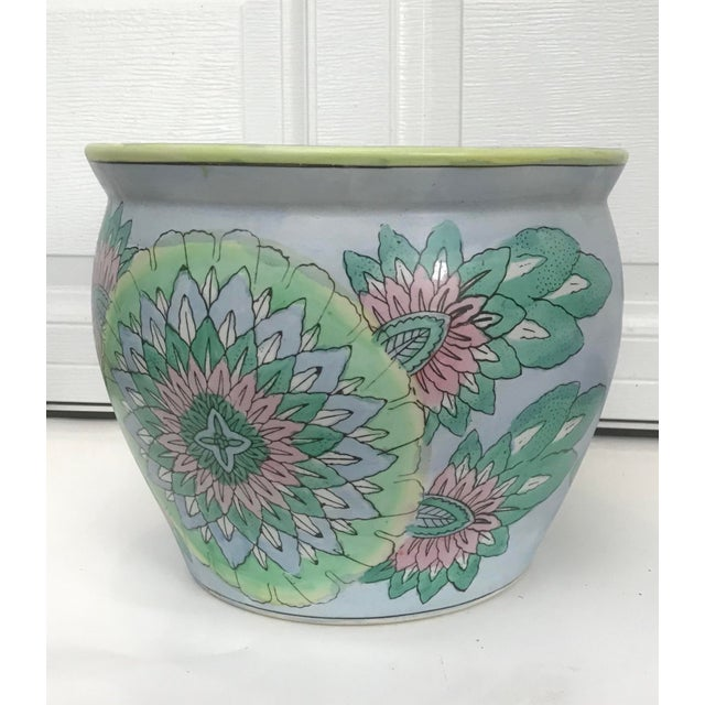 Turquoise Large Oriental Asian Chinese Planter Jardiniere For Sale - Image 8 of 8
