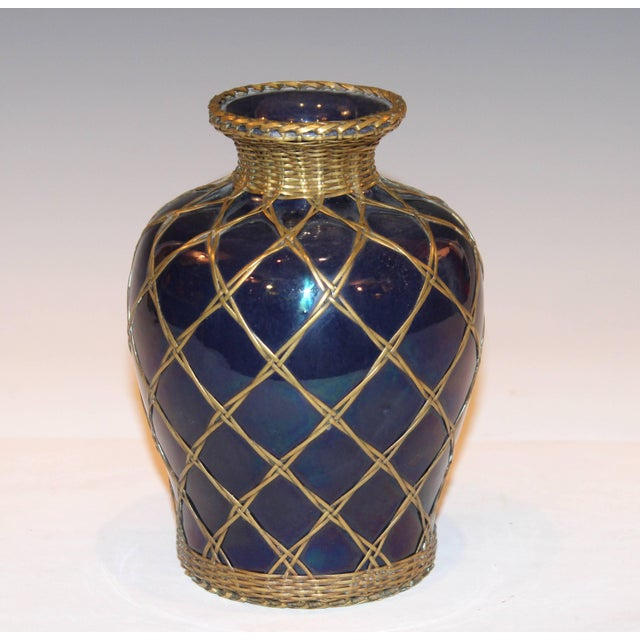 Antique Awaji Pottery Aubergine Monochrome Meiping Form Bronze Weave Signed For Sale - Image 9 of 10