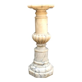 Neoclassic Revival Columned Urned Marble Pedestal For Sale