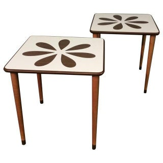 Mid-Century White Formica Coffee Tables - Pair