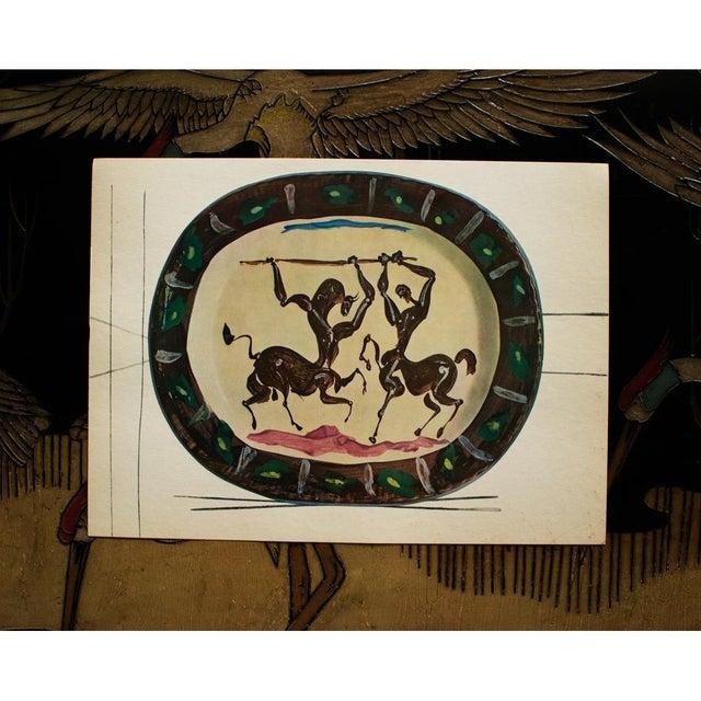 Pablo Picasso 1955 Pablo Picasso Satyr and Centaur Ceramic Plate, Original Period Swiss Lithograph For Sale - Image 4 of 6