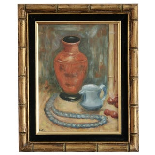 Oil on Canvas Painting in Faux Bamboo Frame For Sale