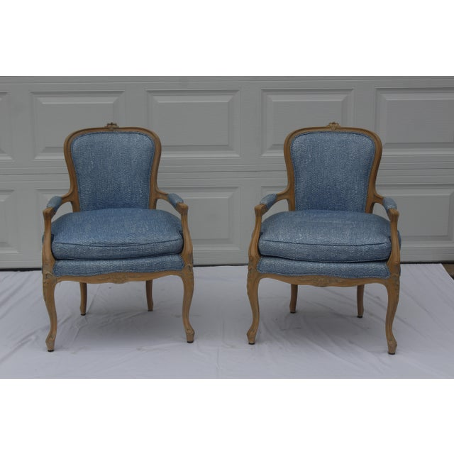 Vintage French Louis XVI Style Vintage Upholstered Arm Chairs- a Pair For Sale - Image 10 of 10
