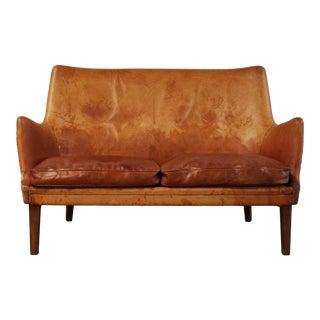 1950s Vintage Arne Vodder Leather & Rosewood Settee For Sale