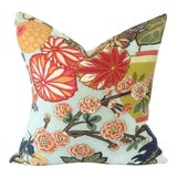 Image of Schumacher Aquamarine Chiang Mai Dragon Pillow Cover For Sale