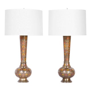 Pair of Floral Enamel Brass Table Lamps For Sale