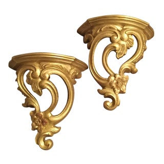 Vintage Golden Wall Shelves - A pair For Sale