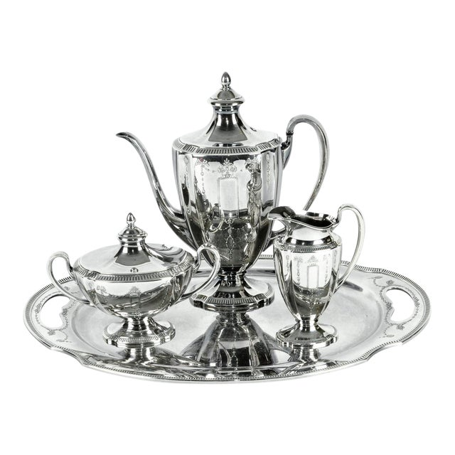 Silver Plate USA Tea & Coffee Set of 4 For Sale