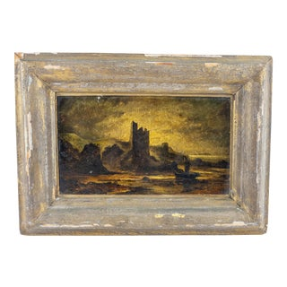 Antique 19th Century Rustic Night Landscape Painting, Framed For Sale