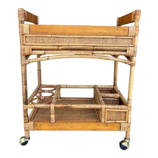 Vintage Mid-Century Bamboo Bar Cart For Sale