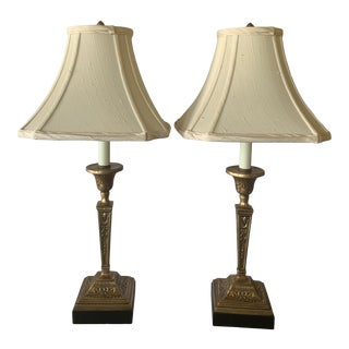 1990s Gold Leaf Lamps - a Pair For Sale