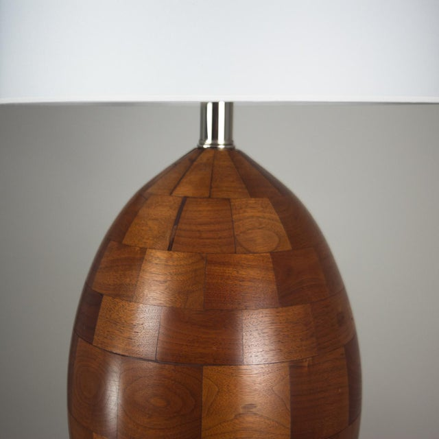 Mid-Century Modern Staved Walnut Block Ovoid Lamp For Sale - Image 3 of 4