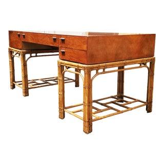 An Henredon Hollywood Regency Bamboo Desk For Sale