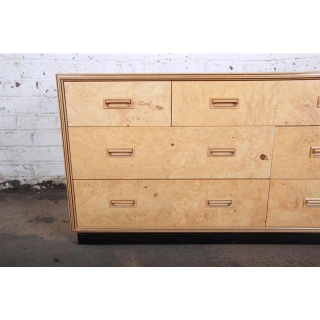 1980s Milo Baughman Style Burl Wood Dresser or Credenza by Henredon For Sale - Image 5 of 13