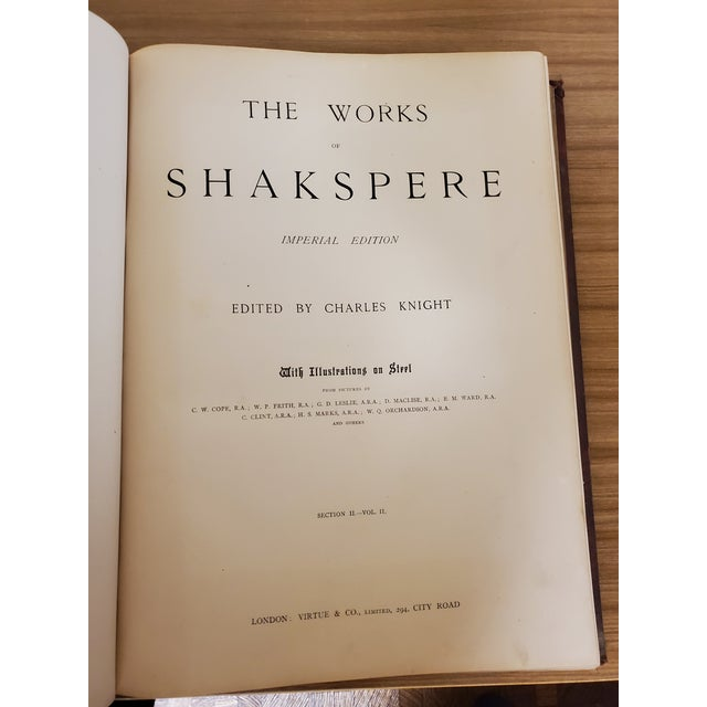 Red 1873 the Works of Shakespeare Books - Set of 4 For Sale - Image 8 of 13