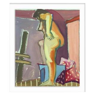 "1950s Original Bay Area Figurative Movement Gouache Painting ""Backside"" For Sale"