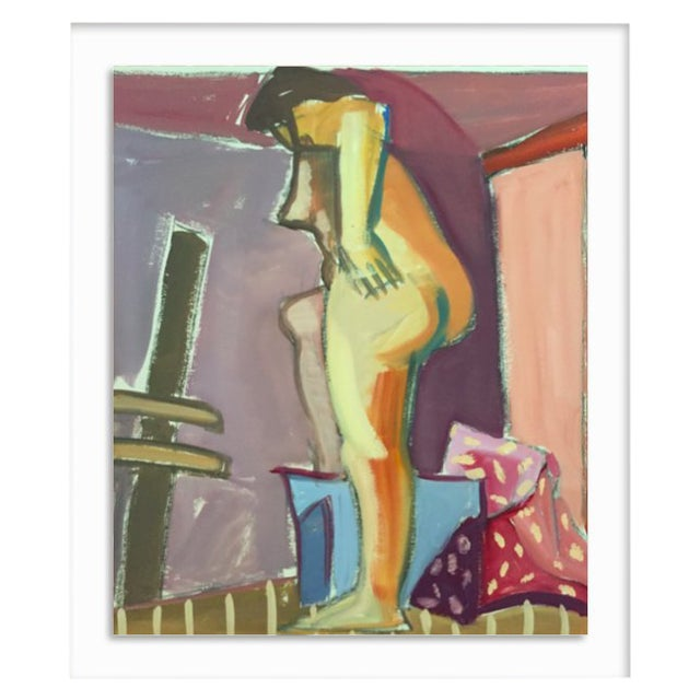 "1950s Original Bay Area Figurative Movement Gouache Painting ""Backside"" For Sale"