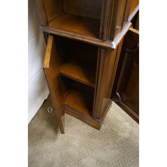 Large Italian Walnut Architectural Bookcase w/ Corinthian Columns For Sale - Image 10 of 10