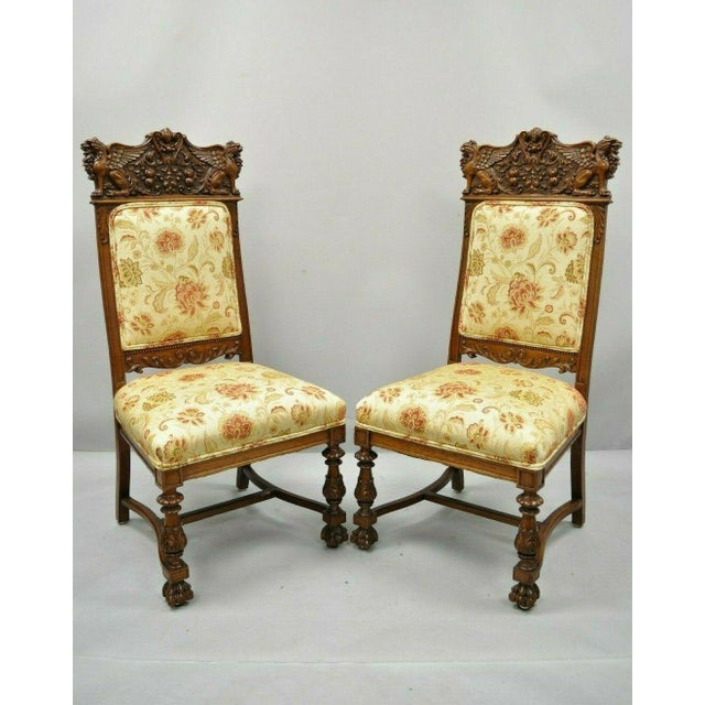 Late 19th Century Vintage Carved Oak Winged Griffin Paw Foot Dining Chairs- A Pair For Sale - Image 12 of 12