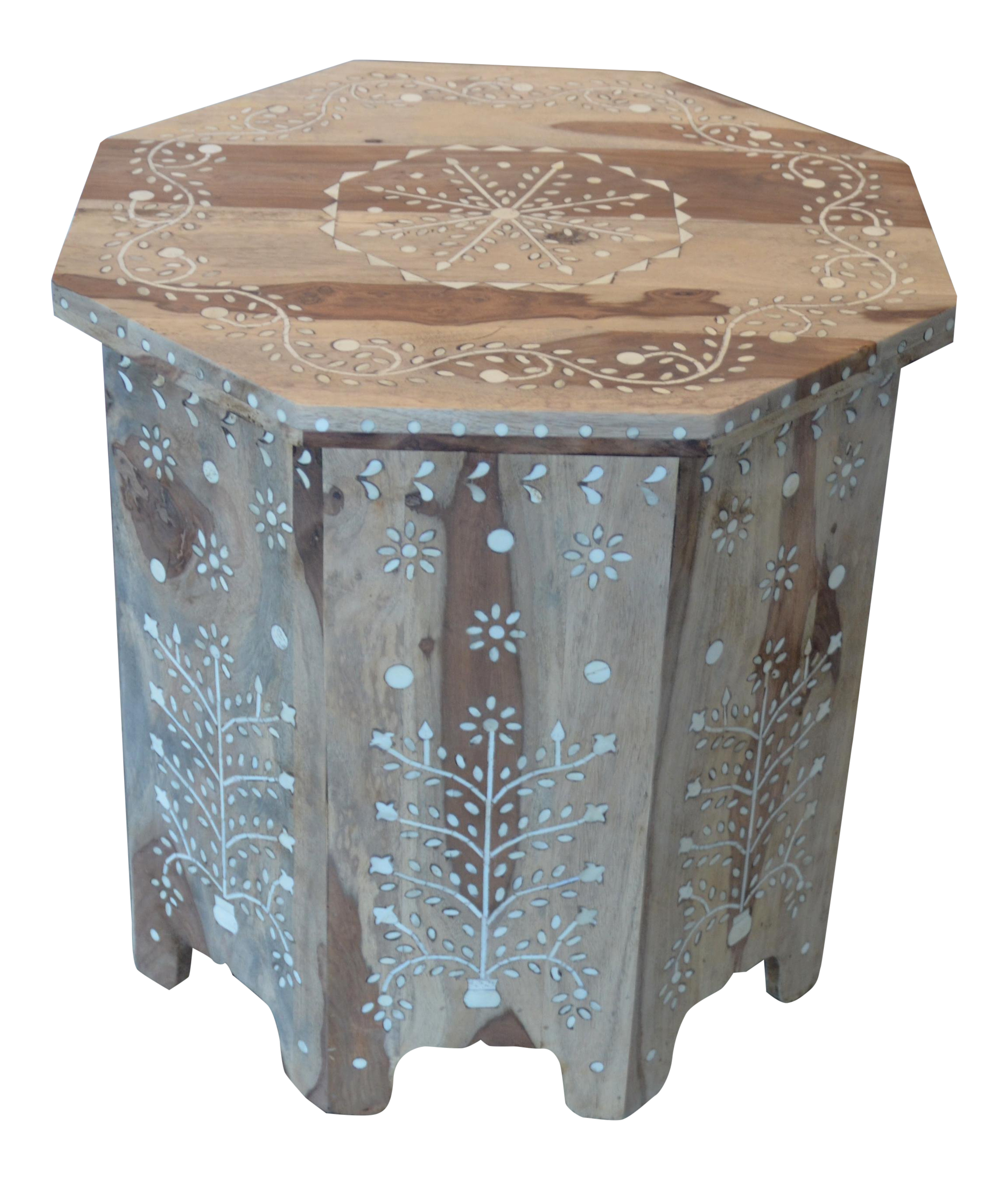 Bleached Moroccan Inspired Bone Inlay Side Table