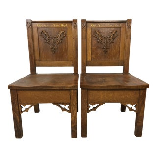 19th-C. Carved German Oak Chairs - A Pair