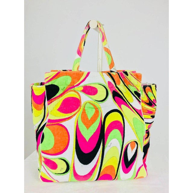Pucci velvet terry beach tote and matching beach towel. Soft 100% cotton velvet terry cloth in a citrus bright Pucci...