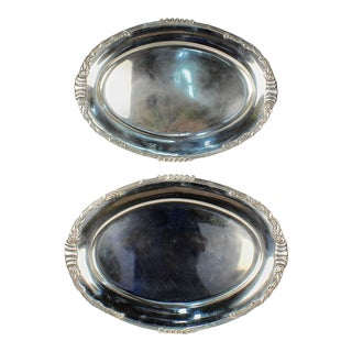 Dutch Art Nouveau Sterling Silver Serving Platters with Cattails by Saakes - A Pair For Sale