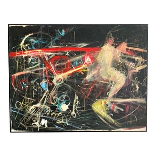 Midcentury Abstract Oil Signed R. Setter For Sale