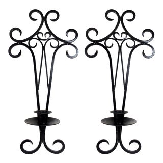 Black Metal Wall Mounted Hanging Sconce Candle Holders - Set of 2 For Sale