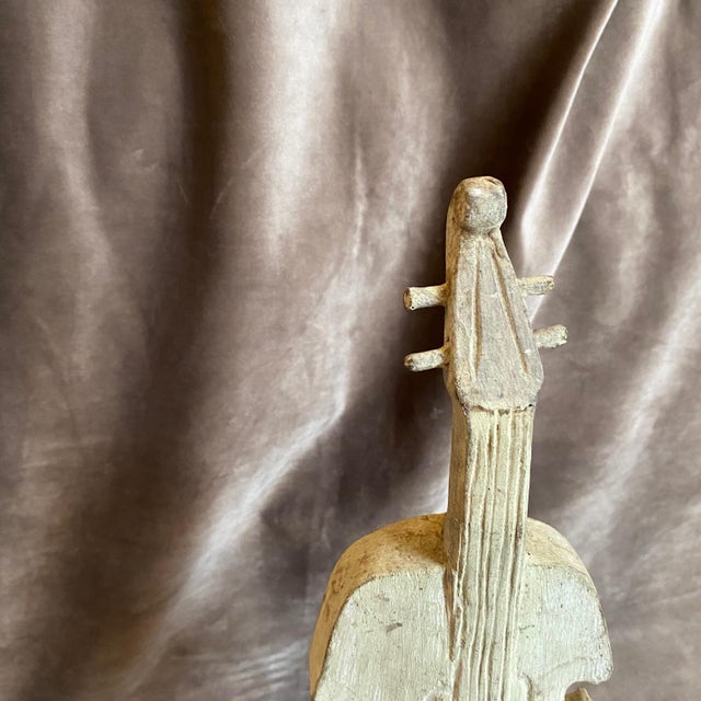 18th Century Ancient Wooden Guitar Fragment on an Iron Base For Sale - Image 4 of 10