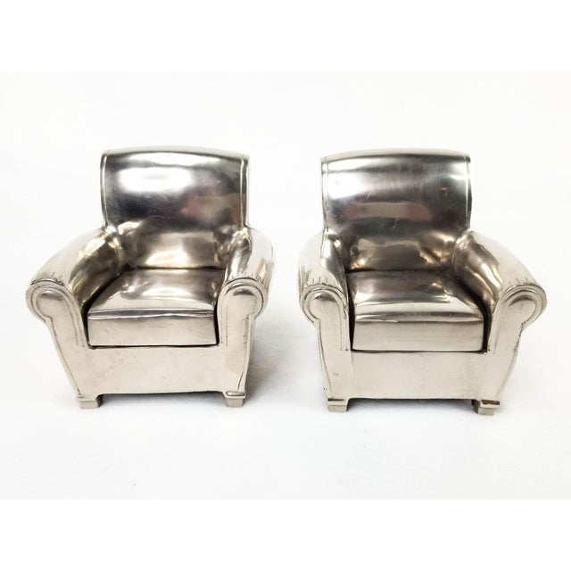Vintage Silver Finish Cast Metal Lounge Chair Bookends - a Pair For Sale - Image 10 of 10