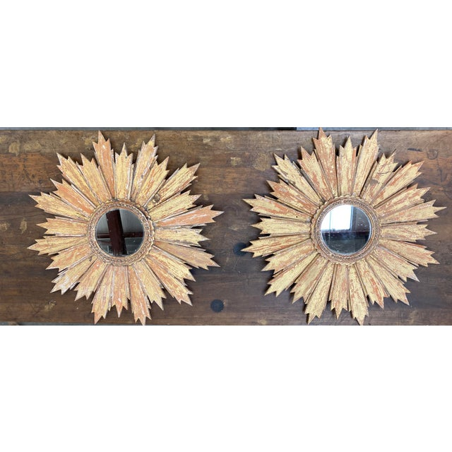 Pair of Italian Sunburst Mirrors With Wood Rays For Sale - Image 12 of 12