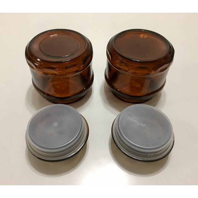 Round Dark Amber Glass Lidded Vanity Jars - A Pair - Image 5 of 6