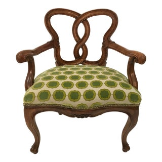 Early 20th Century Hand Carved Satin Wood Italian Vanity Chair Cabriole Leg For Sale