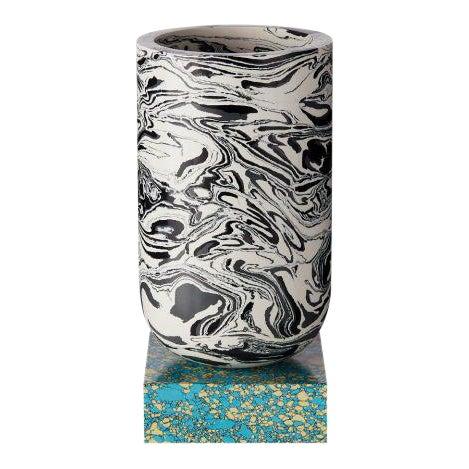Tom Dixon Swirl Vase on a Blue Base For Sale