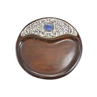 Silver & Blue Lapis Wood Dresser Tray For Sale