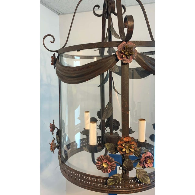 Mid 20th Century French Polychromed Tole Floral Lantern For Sale - Image 5 of 7