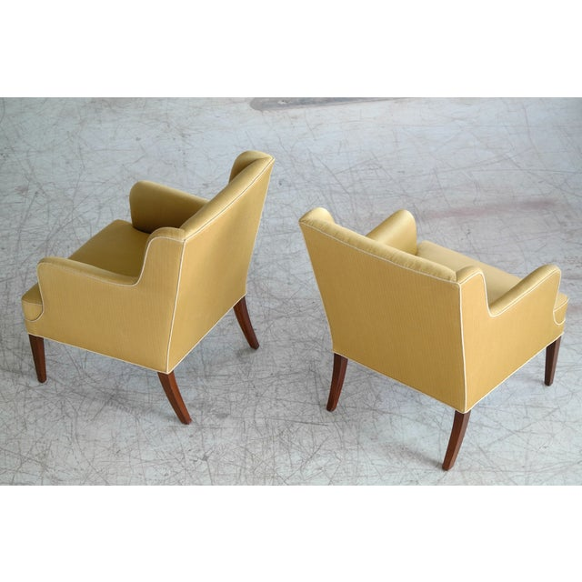 Frits Henningsen Pair of Lounge Chairs Denmark, Circa 1950 For Sale - Image 9 of 13