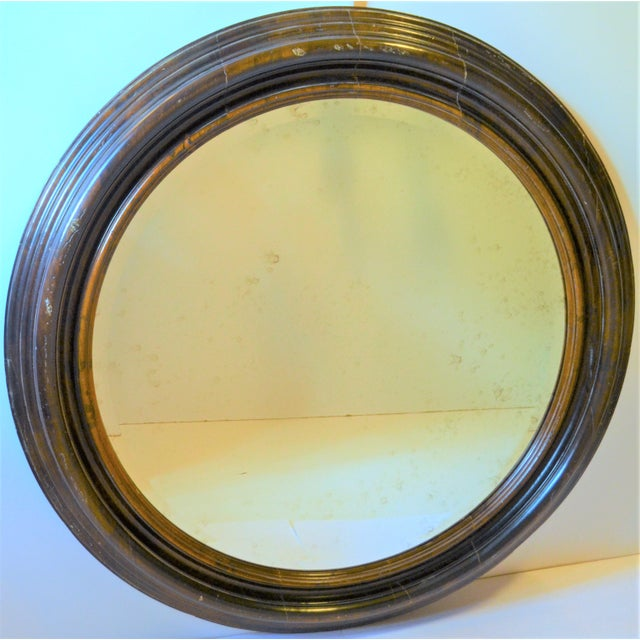 Baker Furniture Company Baker Furniture Round Distressed Solid Maple Mirror For Sale - Image 4 of 11
