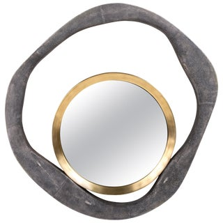 Lily Mirror Large in Coal Black Shagreen and Bronze-Patina Brass by R&y Augousti For Sale
