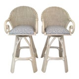 Image of 20th Century Shabby Chic White Wicker Bar Stools - a Pair For Sale