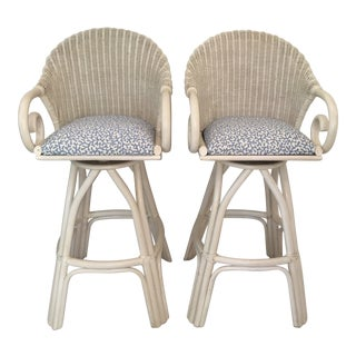 20th Century Shabby Chic White Wicker Bar Stools - a Pair For Sale