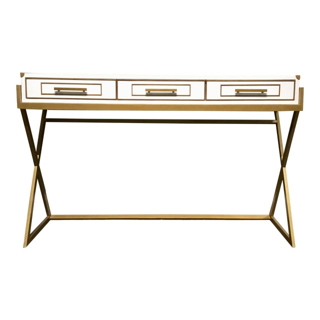 Currey & Co. Modern Regency White and Brass Console Table For Sale
