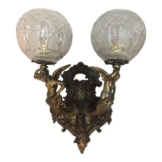 Victorian Bronze and Cut Glass Globe Shades Wall Lamp For Sale