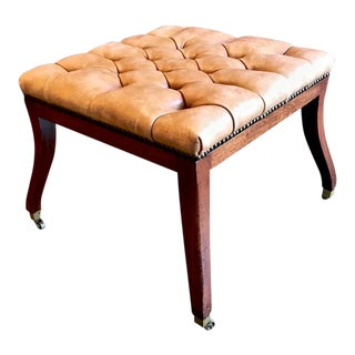 1980s Regency-Style English Mahogany Tufted Leather Stool For Sale