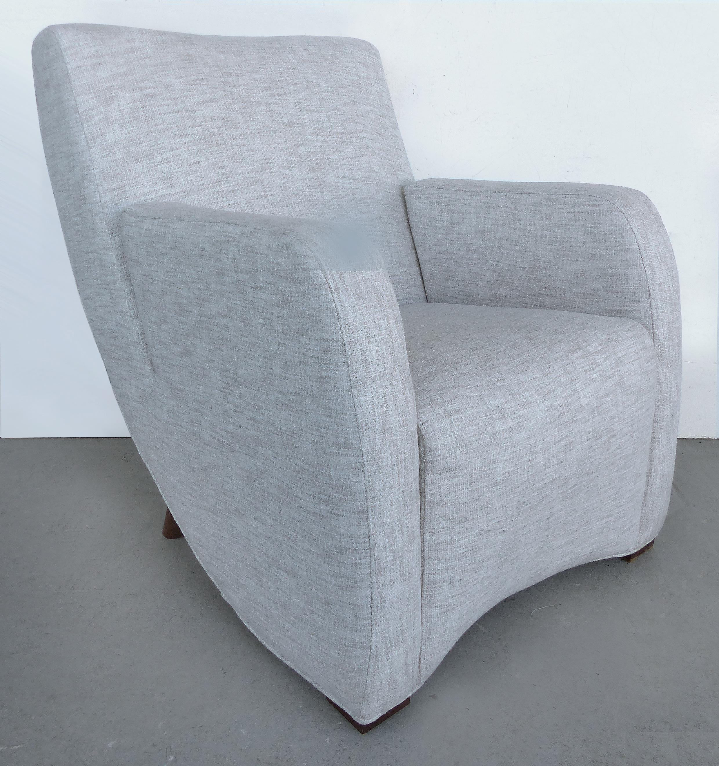 Mid Century Modern Mid Century Modern Upholstered Club Chairs   A Pair For  Sale