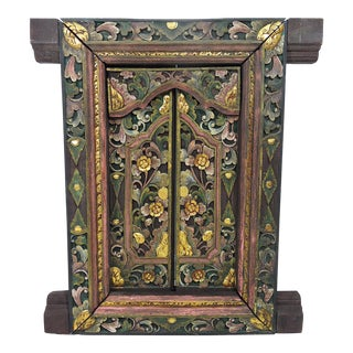 Vintage Hand Carved Green Pink and Gold Floral Indian Picture Window Frame or Wall Panel With Opening Doors For Sale